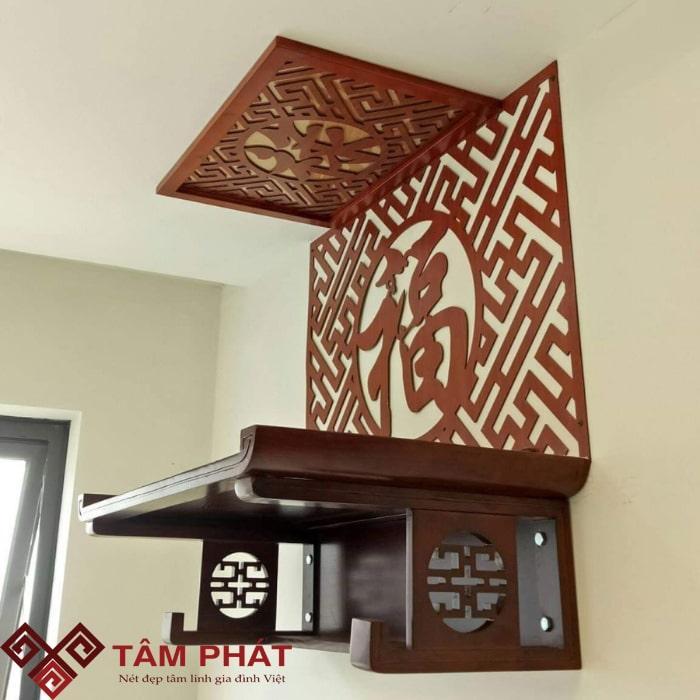 Bàn thờ treo tường mẫu TT2032 có thiết kế đơn giản nhưng vô cùng sang trọng