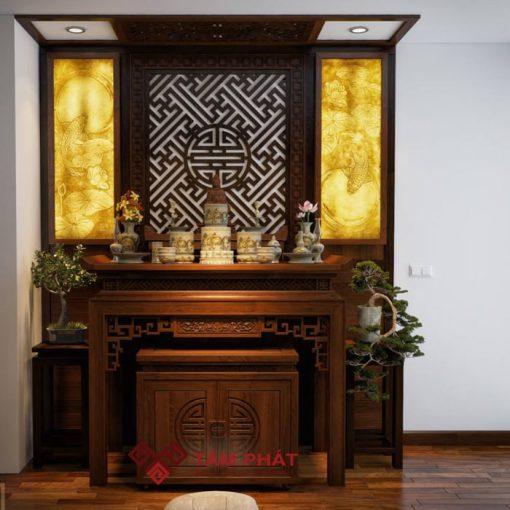 Bàn thờ gỗ gõ Tâm Phát mang vẻ đẹp sang trọng, cho không gian phòng thờ thêm uy nghiêm