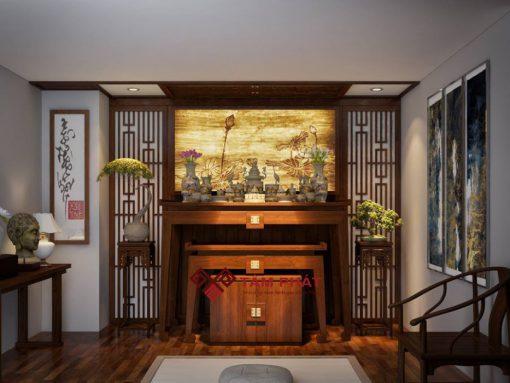 Bàn thờ hiện đại đứng Tâm Phát được làm từ nhiều chất liệu gỗ khác nhau: mít, sồi, gụ, hương