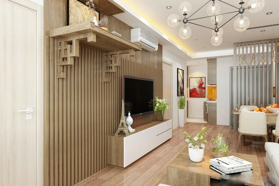 Bàn thờ treo tường chung cư cần đảm bảo kích thước hợp lý và phong thủy