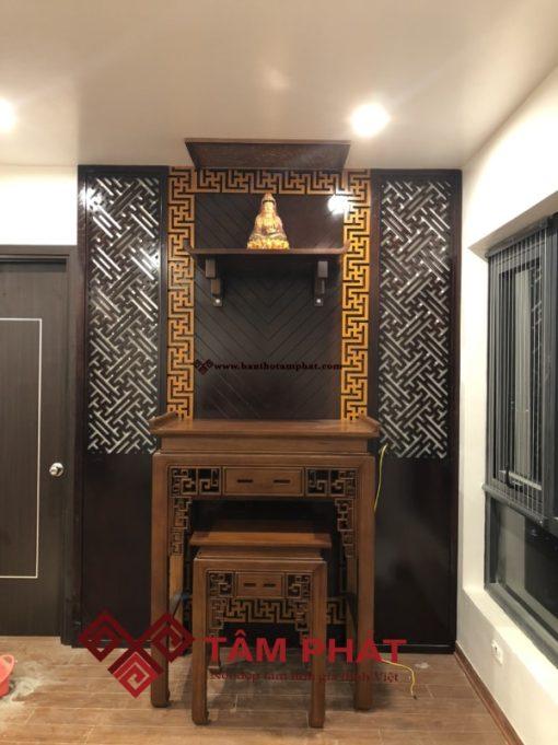 Bàn thờ gia tiên kết hợp bàn thờ Phật và ốp tường trang trí