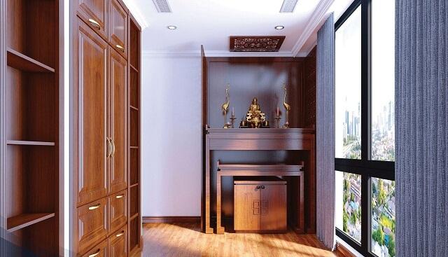 Bàn thờ cần được đặt ở những vị trí phù hợp với phong thủy và không gian kiến trúc của căn phòng