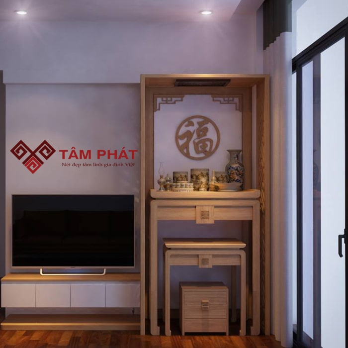 Kho nội thất Tâm Phát là nơi chuyên cung cấp các mẫu bàn thờ chung cư đẹp