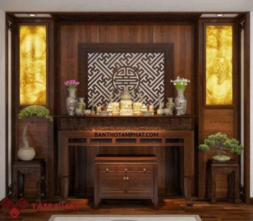 bàn thờ đứng hiện đại gỗ sồi