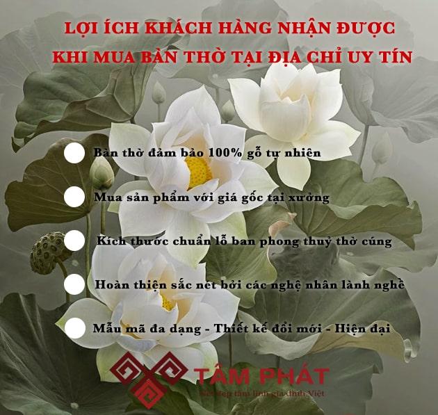 Bàn thờ Tâm Phát là lựa chọn hàng đầu của Khách hàng