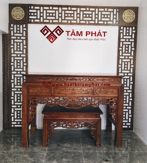 Bàn thờ đứng Tâm Phát mẫu BT-1024 gỗ gụ 81x175