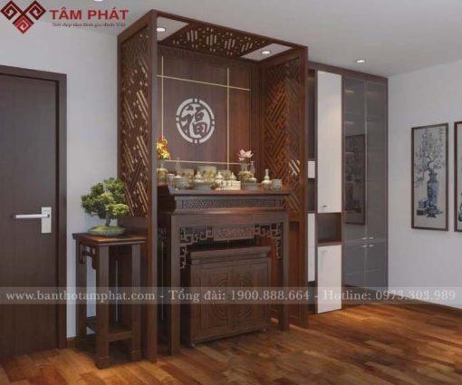 Mẫu bàn thờ tạo nên không gian thờ tự đẹp cho nhà chung cư