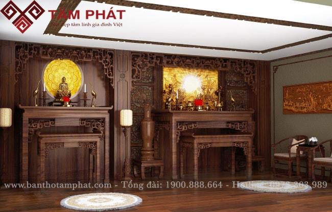 Phòng thờ sử dụng 2 bàn thờ Phật và bàn thờ gia tiên riêng biệt