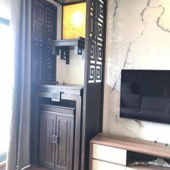 Thi công bàn thờ kết hợp với bàn thờ Phật treo tường