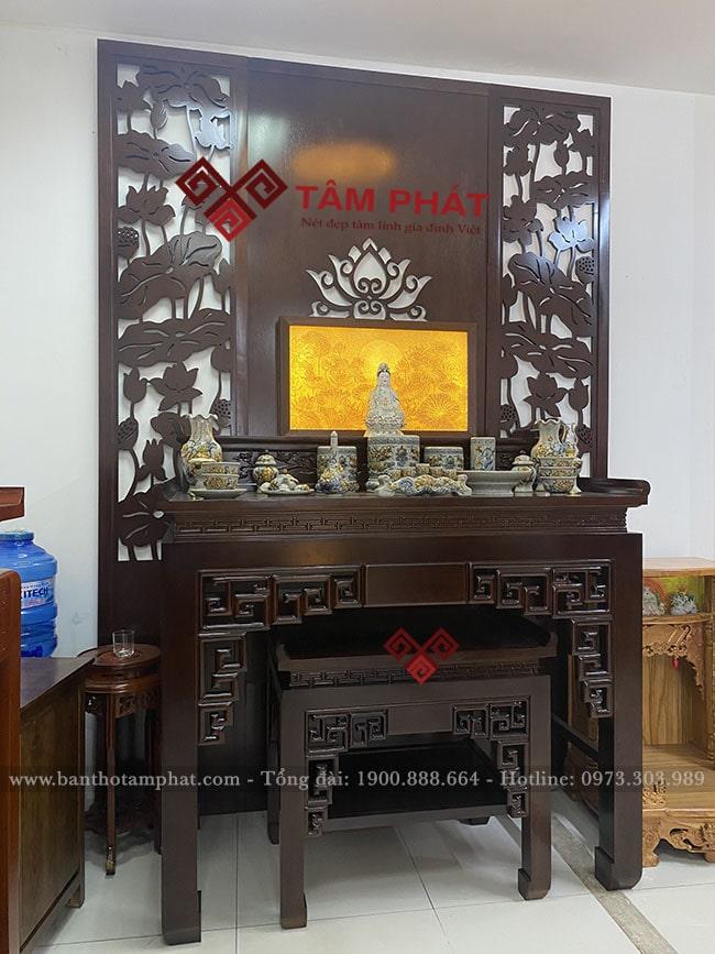 Bàn thờ gỗ Gụ 2 cấp thờ Phật và gia tiên