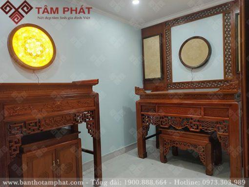 Phòng thờ kết hợp thờ Phật và thờ gia tiên sử dụng mẫu bàn thờ BT-1082