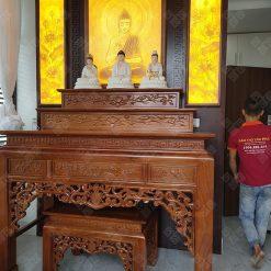 bàn thờ tam cấp gỗ Gụ thi công cho Khách hàng