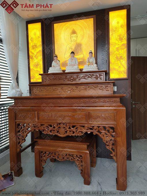 Bàn thờ tam cấp kết hợp thờ Phật và thờ gia tiên