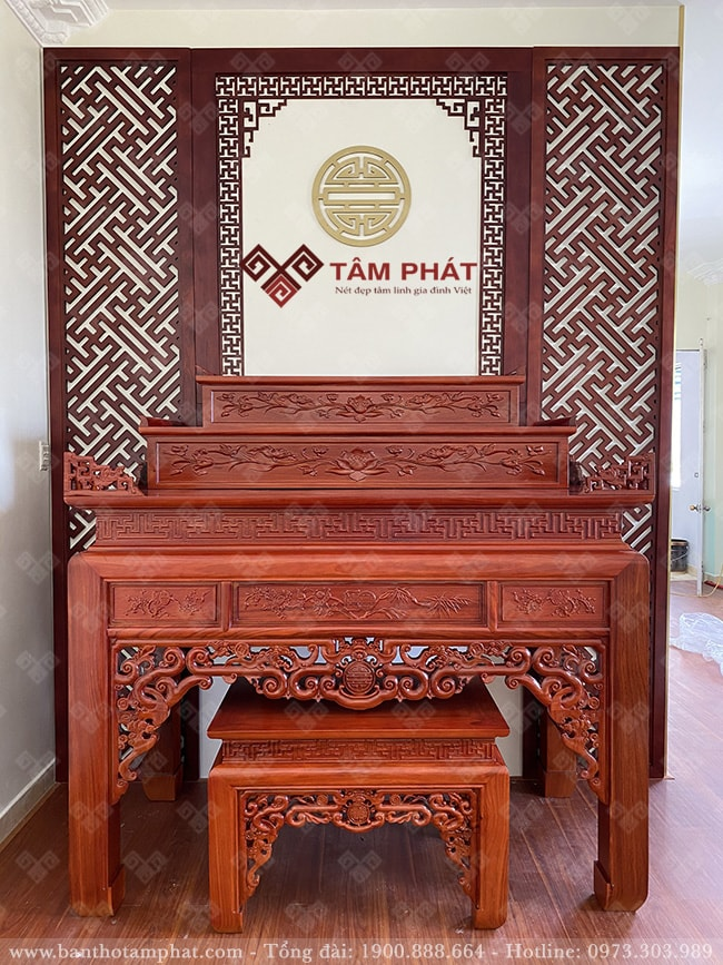 Mẫu bàn thờ tam cấp BT-1089 gỗ hương đá