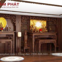 Thiết kế phòng thờ Phật bà gia tiên đẹp của Tâm Phát
