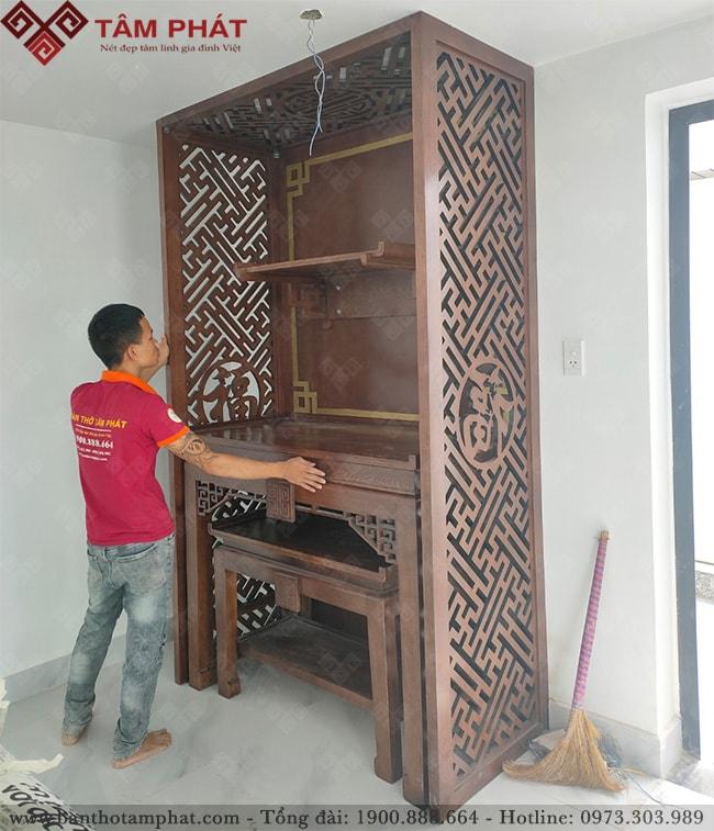 Bàn thờ Phật và gia tiên mẫu BT-1085 gỗ sồi