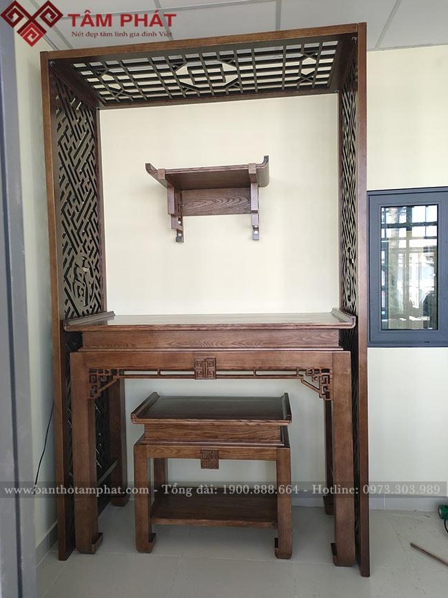 Bàn thờ Phật và gia tiên mẫu BT-1085 Kết hợp với vách ngăn phòng thờ