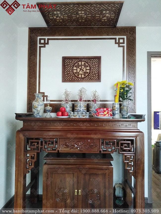 Mẫu bàn thờ gỗ BT-1061 đa dạng họa tiết