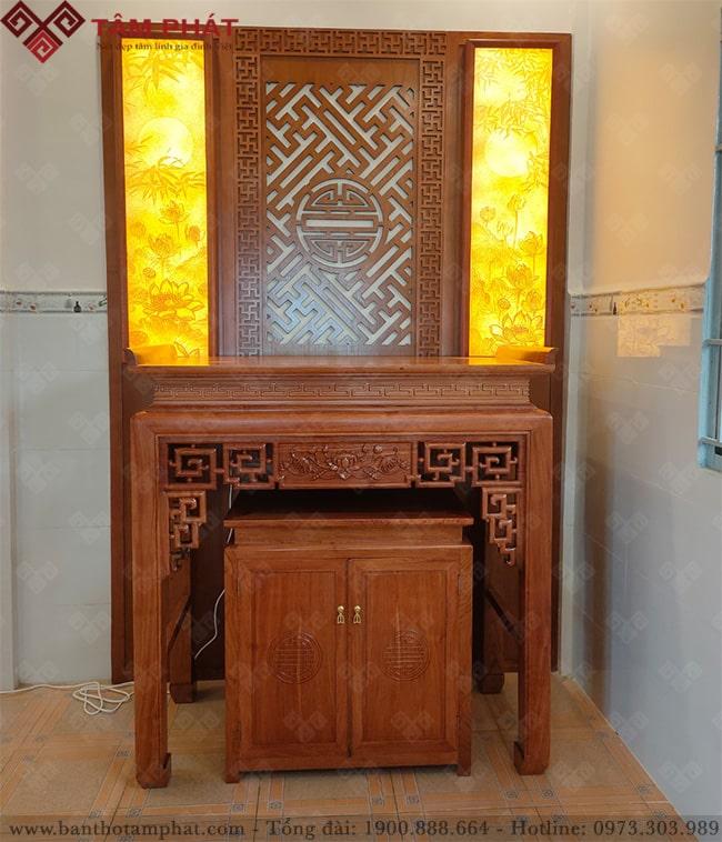 Mẫu bàn thờ BT-1126 chiện sen dưới tủ tiện lợi