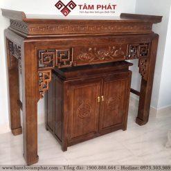 Mẫu bàn thờ BT-1126 dưới tủ làm bằng gỗ Gụ