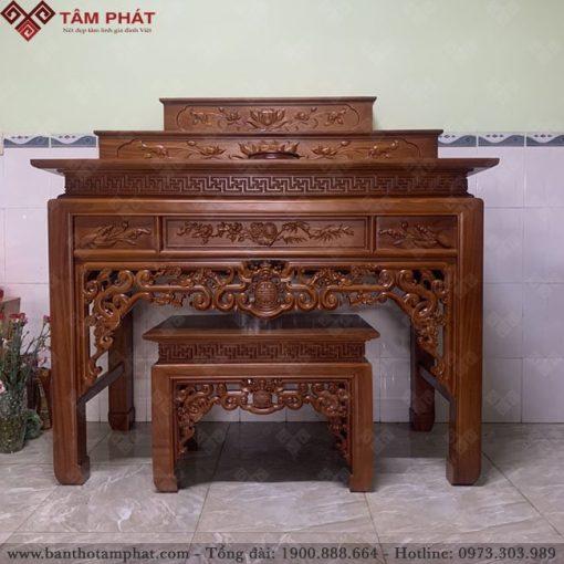 Bàn thờ tam cấp gỗ Hương sơn màu trầm