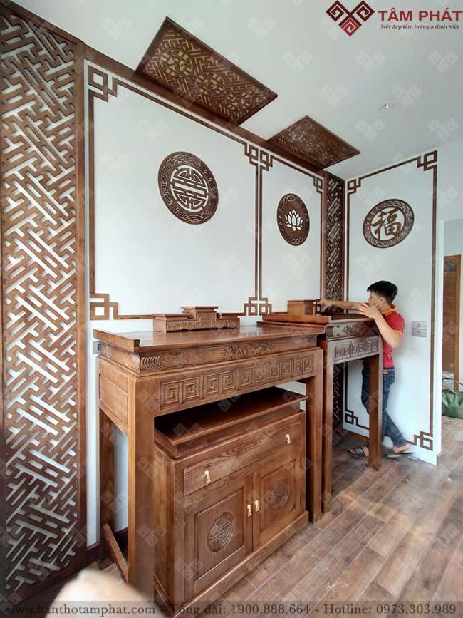 Phòng thờ Phật và gia tiên trang nghiêm